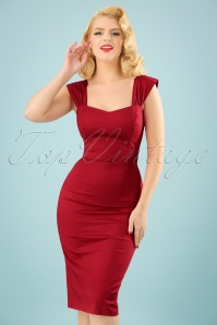 Collectif Clothing Jill Plain Pencil Dress in Red 22836 20171120 0013w