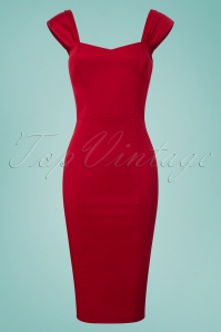 Collectif Clothing Jill Plain Pencil Dress in Red 22836 20171120 0006w