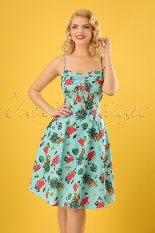 Collectif Clothing Fairy Tropical Fruit Doll Dress in Green 23626 20171121 01W