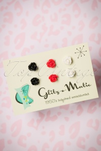 50s Romantic Roses Stud Earring Set in Black, Red and Cream