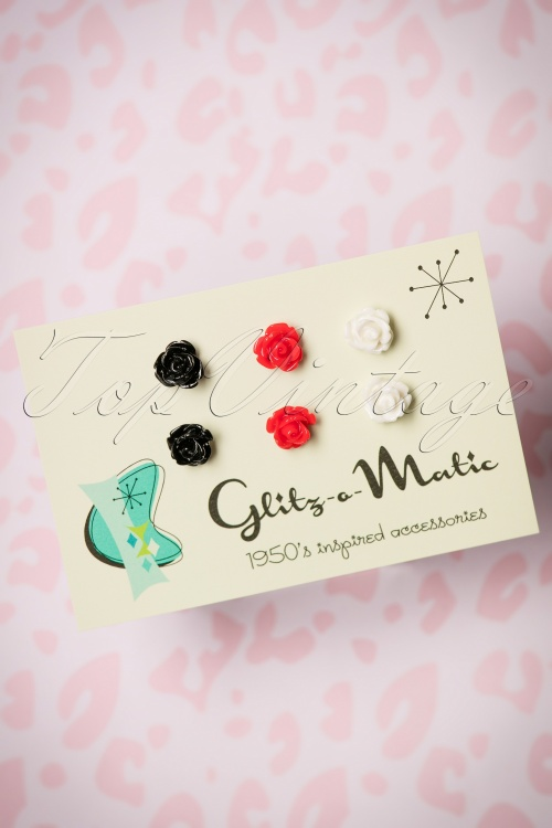 Glitz o Matic Black Red and White Roses Earrings 330 90 24945 14052018 002W