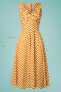 50s Odette ZigZag Swing Dress in Yellow and White