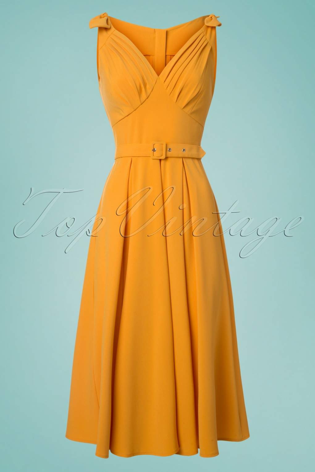 500 Vintage Style Dresses for Sale 50s Marissa Lee Bow Swing Dress in Sun Yellow £89.65 AT vintagedancer.com