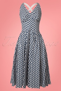 50s Fiorella Lee ZigZag Swing Dress in Navy and White