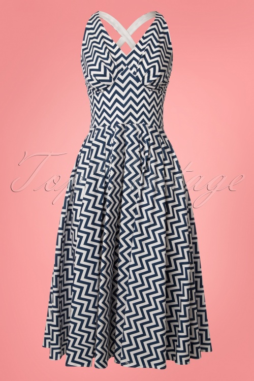 Miss Candyfloss Zig Zag Swing Dress in Blue 102 39 24195 20180508 0001W