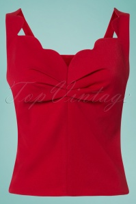 50s Monserrat Darling Scallop Top in Red