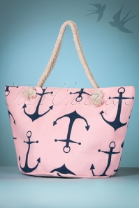 50s Anchor Canvas Shopper in Baby Pink