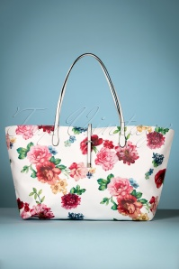 60s Floral Shopper in White