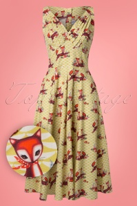 Giorgia Foxy Swing Dress Années 50 en Moutarde
