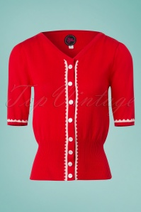 60s Summer Paris Cardigan in Red