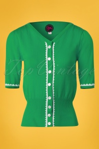 60s Summer Paris Cardigan in Green