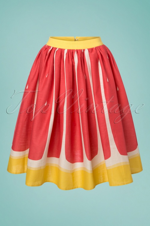 Collectif Clothing Jasmine Pink Grapefruit Swing Skirt 122 22 23631 20180515 0001W