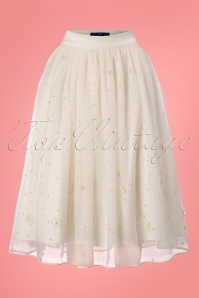 Collectif Clothing Leilani Pearl Tulle Occasion Skirt in Ivory 22806 20171120 0004W