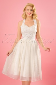 Collectif Clothing Leilani Pearl Tulle Occasion Skirt in Ivory 22806 20171120 5W