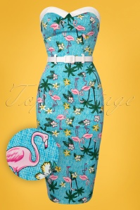 Collectif Clothing Monica Tropical Flamingo Pencil Dress 100 39 23640 20180515 0001W1
