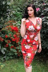 Vintage Chic Criss Cross Orange Floral Pencil Dress 100 27 24488 20180307 0006W