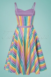 Collectif Clothing Nova Rainbow Stripes Swing Dress 102 59 23621 20180516 0003W
