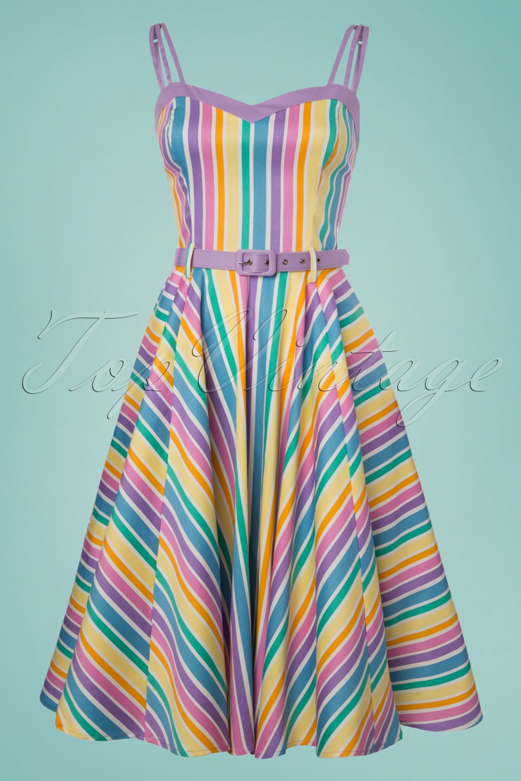 1960s Style Dresses, Clothing, Shoes UK 50s Nova Rainbow Stripes Swing Dress in Multi £73.25 AT vintagedancer.com