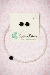 Glitz o Matic Pearl Black Rose necklace Earrings set 290 59 24938 14052018 003W