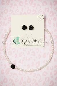 Glitz o Matic Pearl Black Rose necklace Earrings set 290 59 24938 14052018 003W