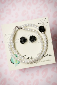 Glitz o Matic Pearl Black Rose necklace Earrings set 290 59 24938 14052018 001W