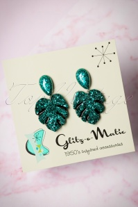 50s Monstera Confetti Earrings in Turquoise