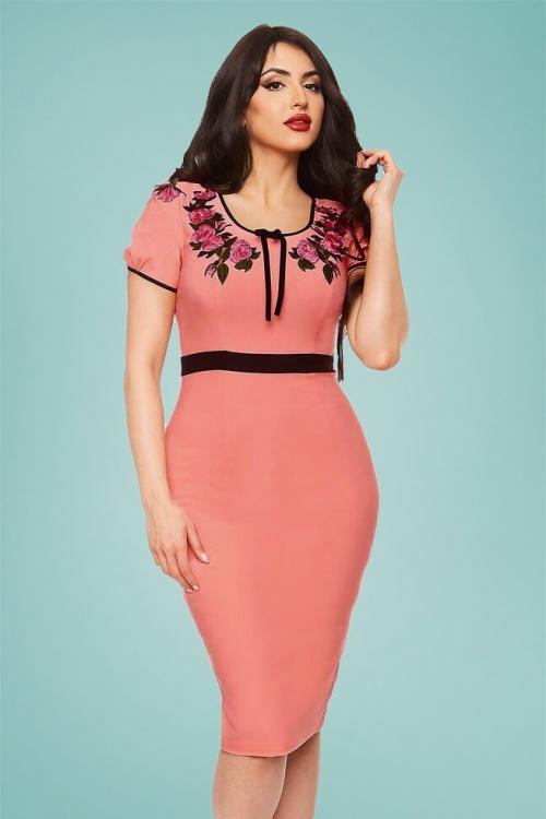 76416729a8e2 50s Prima Donna Pencil Dress in Coral Pink