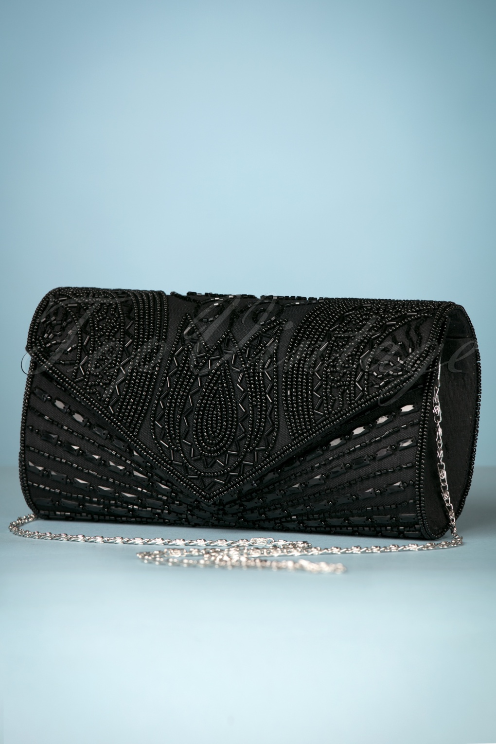 1920s Style Purses, Flapper Bags, Handbags 20s Beatrice Beaded Clutch in Black £31.21 AT vintagedancer.com