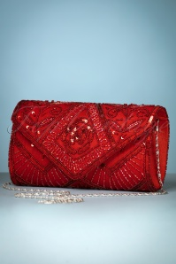 20s Scarlet Beaded Clutch in Red