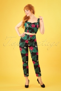 50s Bonnie Tropical Paradise Trousers in Black