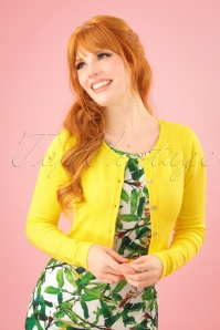 50s Carrie Cropped Cardigan in Yellow
