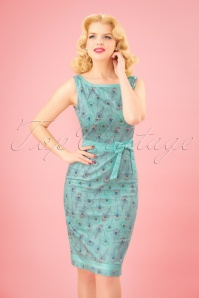 50s Peacock Wiggle Dress in Light Blue