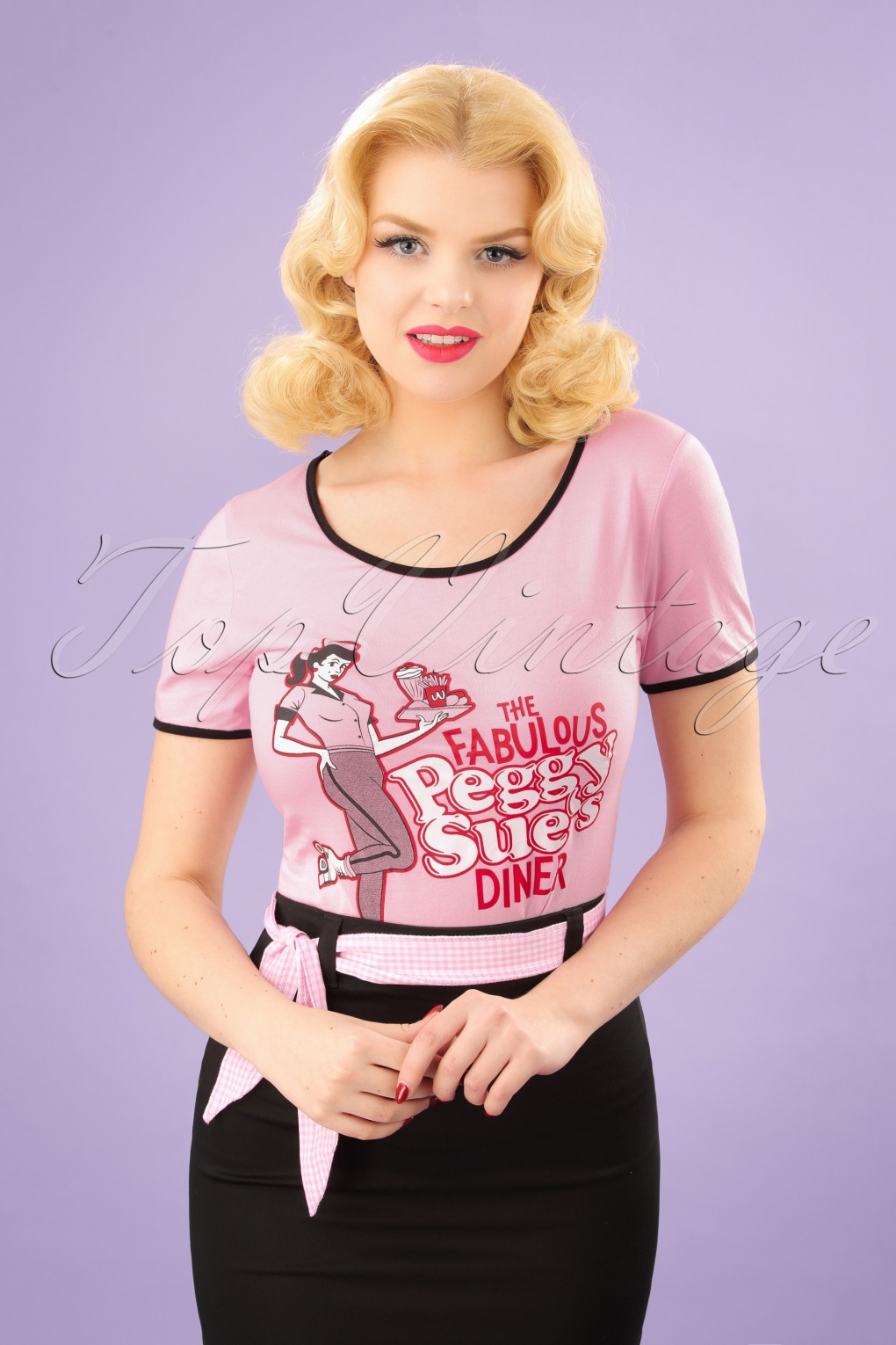 Vintage & Retro Shirts, Halter Tops, Blouses 50s Fabulous Peggy Sues Diner T-Shirt in Pink £19.59 AT vintagedancer.com