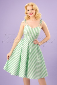 50s Candy Stripe Strappy Sundress in Green