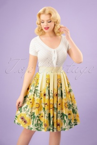 50s Sunflower Retro Skirt in Pastel Yellow