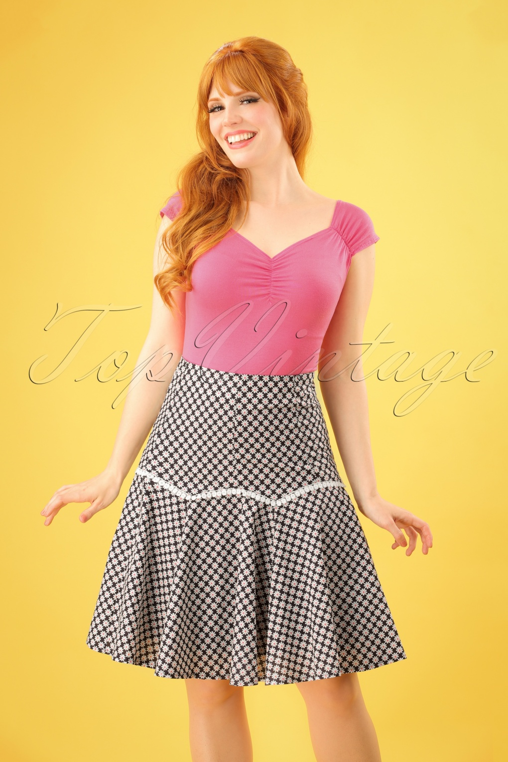 Retro Skirts: Vintage, Pencil, Circle, & Plus Sizes 70s Ditsy Daisy Skirt in Navy £33.62 AT vintagedancer.com