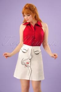 60s Model Face Skirt in White