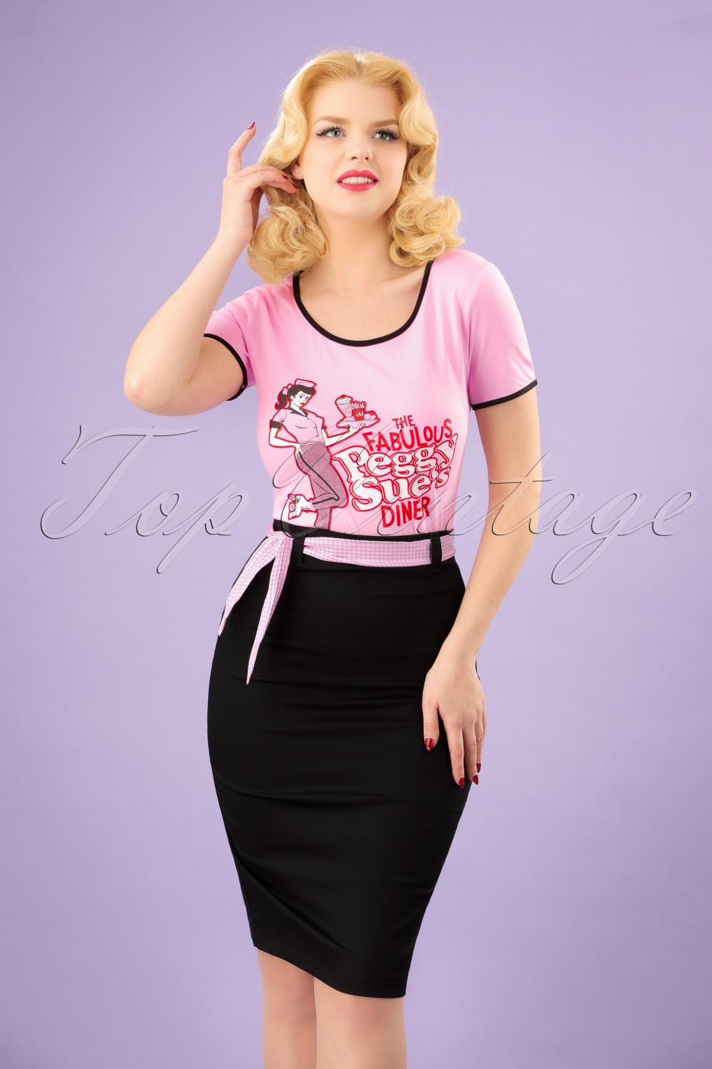 Retro Skirts: Vintage, Pencil, Circle, & Plus Sizes 50s Grease Pencil Skirt in Black and Pink £33.53 AT vintagedancer.com