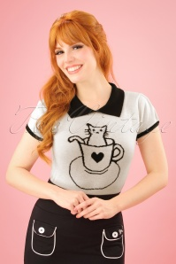 60s Tara Cat Shirt in Ivory and Black