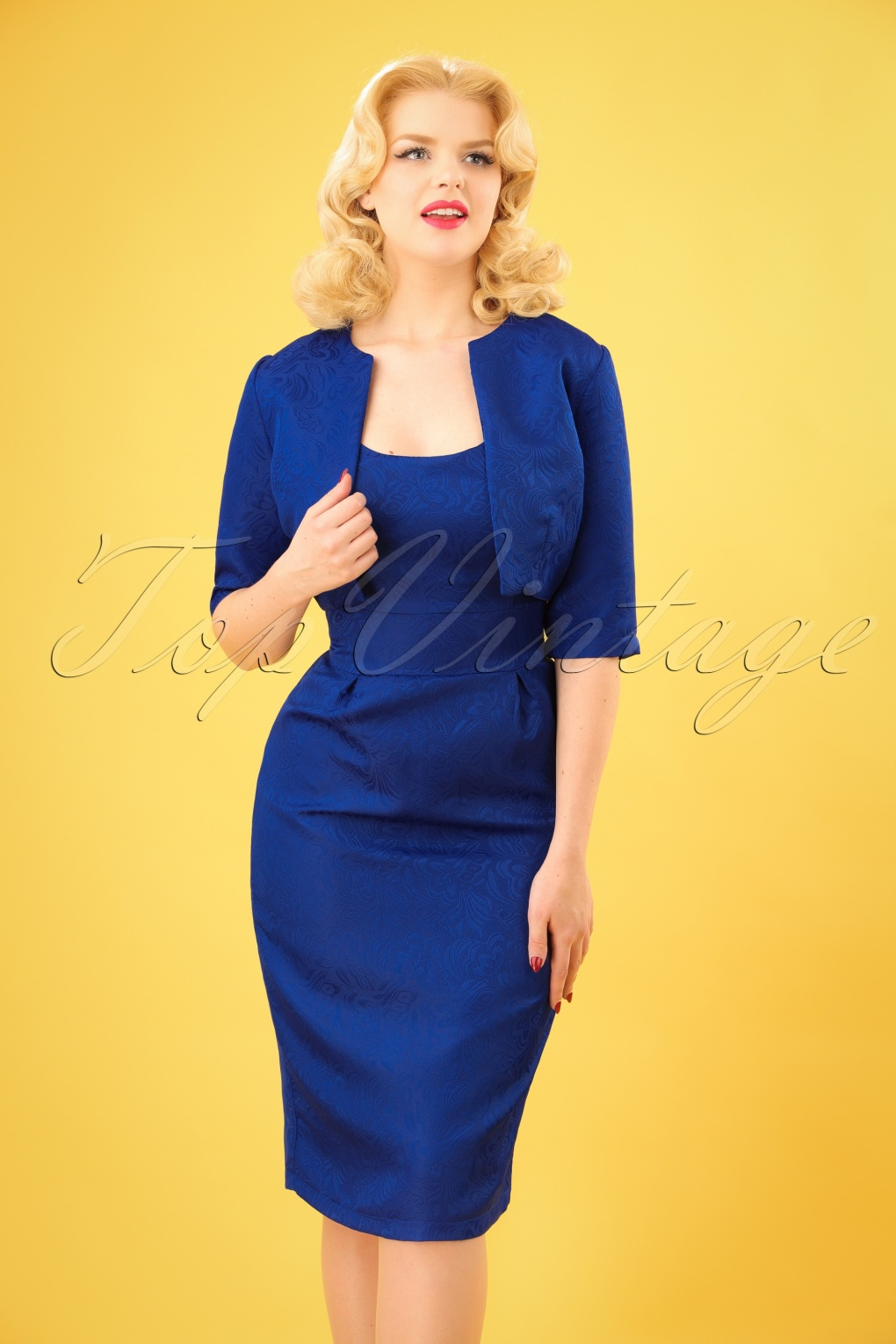 1960s Dresses – A Rainbow of 50 Dresses (Pictures) 60s Marguerite Twin Set in Royal Blue £70.75 AT vintagedancer.com