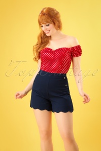 50s Sally Scalloped Shorts in Navy