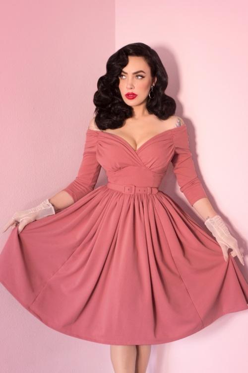 50s Starlet Swing Dress in Rose Pink
