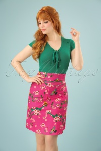 60s Birds and Blossom Skirt in Pink