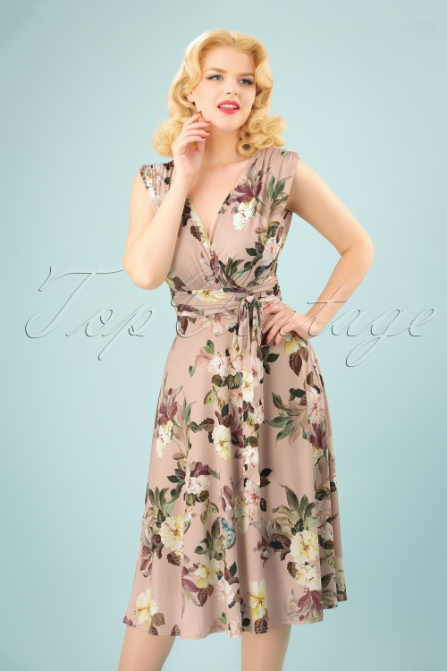 Vintage Chic Slinky Floral Dress in Soft Pink 102 29 24490 20180330 0004W