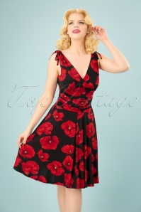 Vintage Chic Grecian Black Red Flower Dress 102 14 24529 20180321 0009W