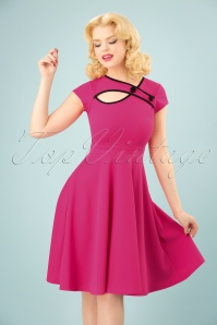 Vintage Chic 50s Rita Pink Black Dress 102 22 25147 20180330 0004W