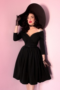 TopVintage exclusive ~ 50s Starlet Swing Dress in Black