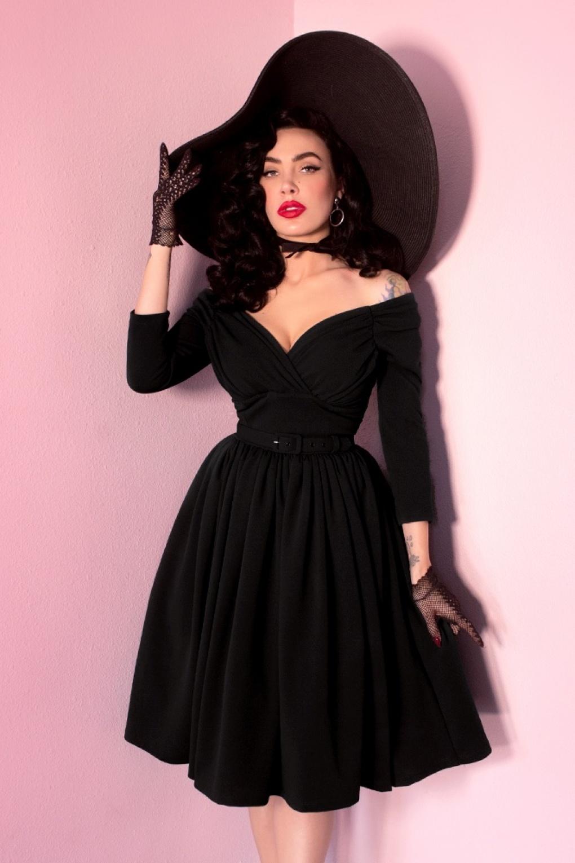 1950s Prom Dresses & Party Dresses 50s Starlet Swing Dress in Black £208.76 AT vintagedancer.com
