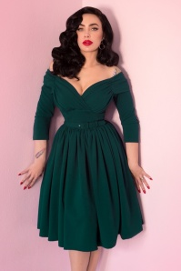 TopVintage exclusive ~ 50s Starlet Swing Dress in Hunter Green