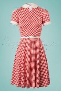 Jersey Polkadot Flared Dress Années 60 en Rouge et Blanc